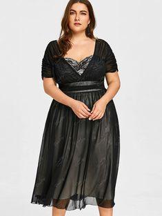 Plus Size Sweetheart Neck Tiered Swing Dress - BLACK XL Big Size Dress 4790e4825