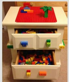 Turn old night stand into lego table