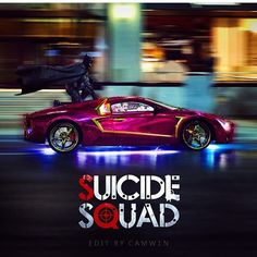 The Batman, Harley Quinn & The Joker at the Car Chase Scene at the upcoming 2016 DC COMICS movie;  Suicide Squad.