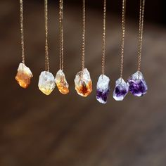 +++ The price shown is for ONE raw gemstone necklace. +++  A single, rough nugget of either sunny, yellow Citrine or plummy, purple Amethyst is