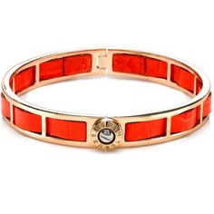 Henri Bendel Petite Woven Hinged Bangle ($59) ❤ liked on Polyvore featuring jewelry, bracelets, dk orange, woven jewelry, bangle bracelet, leather bangle, orange bangle bracelet and leather jewelry