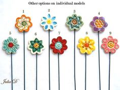 Ceramic Flowers stickDecorPlanter by ColorofceramicJuliaD on Etsy, $5.00