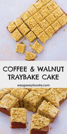 All the delicious flavours of coffee and walnut cake in traybake form! This Easy Coffee and Walnut Traybake Cake is very simple to make, the decoration needs no fancy skills, it's super easy to slice and, of course, it tastes amazing! #coffeeandwalnutcake #coffeecake #walnutcake #coffeeandwalnuttraybake #coffeetraybake #walnuttraybake #cake #traybakecake #traybake #vegetarian #easyentertaining #easybaking #easyrecipes #easypeasyfoodie #cookblogshare Lunch Box Recipes, Easy Dinner Recipes, Great Recipes, Snack Recipes, Favorite Recipes, Loaf Recipes, Drink Recipes, Cake Recipes, Vegetarian Recipes