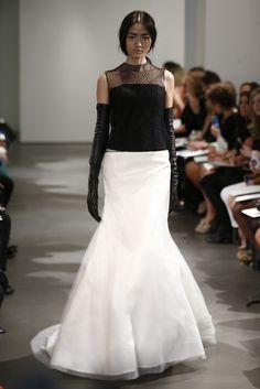 The 2014 Vera Wang bridal collection is full of strong statements - black and white dresses for a bride with attitude - love them or loathe them? Bridal Collection, Dress Collection, Vera Wang Bridal, Elegant Gloves, Boho Gown, Latest Fashion Dresses, Dress Fashion, Women's Fashion, Bridal Jumpsuit