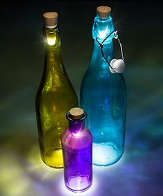 Transform empty bottles into lamps.