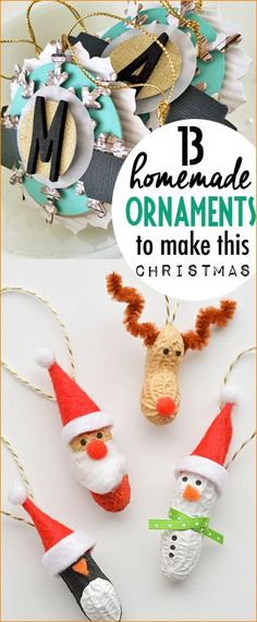 Homemade Ornaments To Make This Christmas. Fun character ornaments you can make with the kids. DIY Christmas ornaments. Snowflake, peanut and clear bulb ornaments.