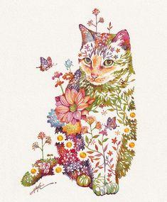 Cute Paintings, Unique Paintings, Animal Paintings, Amazing Paintings, Art And Illustration, Art Mignon, Cat Flowers, Japanese Artists, Global Art