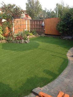 garden with artificial turf from lawn land