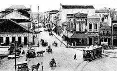 Porto Alegre antigamente: Esquina da Voluntários da Pátria com Marechal Floriano - 1910