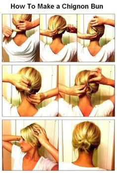 Chignon bun for short hair - Beauty Tutorials Lazy Girl Hairstyles, Bun Hairstyles, Pretty Hairstyles, Modern Hairstyles, Short Hair Bun, Short Hair Styles, 2nd Day Hair, Chignon Bun, Beauty Tutorials