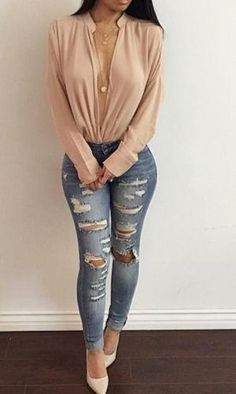 Fashion Women Long Sleeve Casual Tops and Blouses elegant V Neck Shirtrricdress-rricdress Classy Outfits, Sexy Outfits, Chic Outfits, Spring Outfits, Fashion Outfits, Fashion Ideas, Fashion Trends, Clubbing Outfits Plus Size, Sexy Jeans Outfit