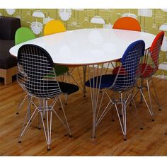 Sillas DKR de EAMES Eames, Wire Chair, Dining Chairs, Dining Room, Living Area, Table, Bikini, Furniture, Home Decor