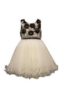 Bonnie Jean Ivory Mesh Bonaz Wire Hem Dress 4-6x