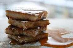 Crunchy, Soft Danish Style French Toast wiath Maple Syrup and Powdered Sugar