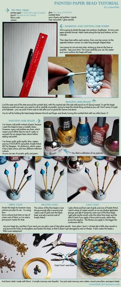 Painted Paper Bead Tutorial by Crimefish.deviantart.com