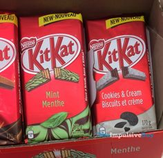 Nestle Kit Kat Mint and Cookies & Cream Tablet Bars Nestle Chocolate, Dairy Milk Chocolate, Chocolate Ice Cream, Chocolate Lovers Quotes, Healthy Mixed Drinks, Kit Kat Flavors, Flowers Black Background, Chocolate Delivery, Raspberry Cupcakes