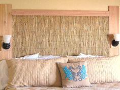Cedar + grass thatching = $75 headboard with a coastal feel.