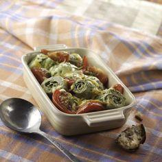 Gratinado de corazones de alcachofa con tomate