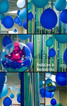 """Perfect mermaid scenarium or simply """"under the see"""" theme! balloons and streamers for water."""