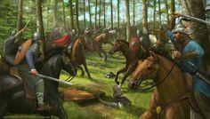 the last Magyar raid. Painted for Medieval Warfare Magazine Battle of Lechfeld Bratislava, Ancient History, Art History, Carolingian, Big Battle, Fantasy Warrior, Fantasy Art, Dark Ages, Medieval Fantasy