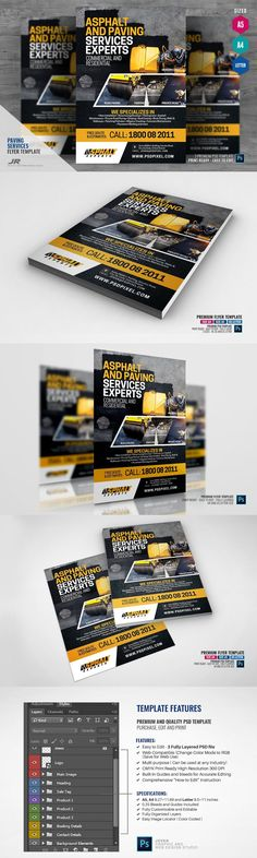 Asphalt Company Flyer - Boost your company's sales and attract new customers! This Asphalt Company Flyer/ Asphalt Services Flyer Template has been developed to boost your Ultimate Marketing Opportunity and solid brand/product awareness and promotion! Perfect for large and small businesses, packed with well-studied content with actual marketing copy! - SPECIFICATIONS: - 3 Sizes / A4 8.27x11.69 inches, A5 5.8x8.3 and Letter 8.5x11 inches - 0.25 bleed...