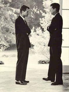 Attorney General Robert Kennedy and his brother President John Kennedy, photographed at the White House during the Cuban Missile Crisis. Photo Credit: JFK Library