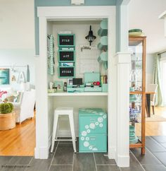 Get totally organized with a DIY Command Center in your home like this command center closet at thehappyhousie-2