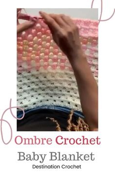 Easy crochet baby blanket using the Granny Stripe Stitch. Colors can be changed for a boy or girl baby blanket. Simply, quick, with a beautiful camel stitch border. Make this baby blanket for the next baby shower!