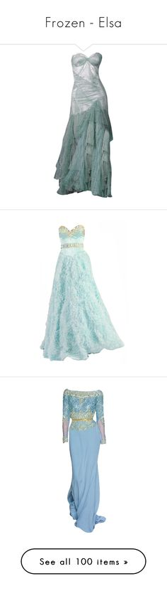 """""""Frozen - Elsa"""" by cherrygoodday ❤ liked on Polyvore featuring dresses, gowns, long dresses, long green dress, green dress, green gown, green evening dresses, vestidos, green ball gown and long green evening dress"""