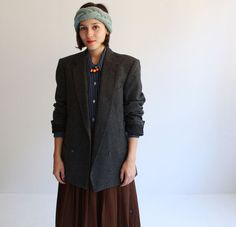 Oversized grey wool douublebreasted blazer s  m  by cheapopulance, $115.00