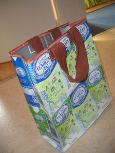 Upcycled milk carton tote bags made in France