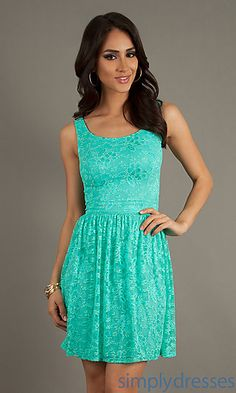 Short Lace Sleeveless Dress at SimplyDresses.com