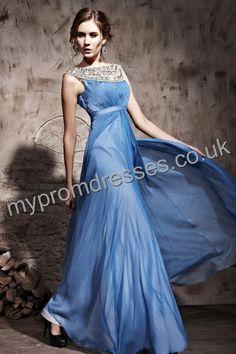 Floor length Off-the-shoulder Blue Satin A-line Evening Dress  http://www.mypromdresses.co.uk