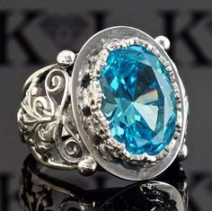 Silver mens ring 925 Sterling Swiss Blue Topaz Unique Handcrafted Mens Jewelry #KaraJewels #ArtisanJewelry
