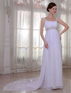 Beaded Embroidery Empire Waist Chiffon Elastic Woven Satin Wedding Dress
