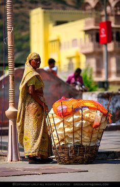 Poppadom Seller in Jaipur , India   - Explore the World with Travel Nerd Nici, one Country at a Time. http://TravelNerdNici.com