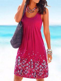 f640a839eb8 Popular Floral-Print Round Neck Sleeveless Loose Midi Dress. Casual Summer  DressesBeach DressesSummer Dresses With SleevesDress BeachWomen s ...