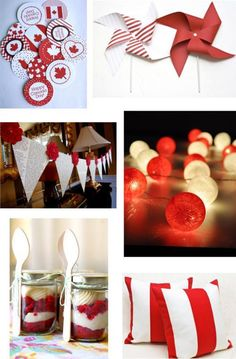 White and red colors, national symbols and creative craft ideas help bring the Canada Day spirit into Canadian homes and design unique and beautiful holiday table decorations and centerpieces Canada Day 150, Canada Day Party, Happy Canada Day, O Canada, Canadian Party, Canadian Food, Canada Celebrations, Happy Birthday Canada, Canada Day Crafts
