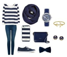 """""""Navy blue anchor outfit"""" by laurenflynn23 on Polyvore featuring NYDJ, MANGO, Vans, Kate Spade, Radley, claire's, BP., Brooks Brothers, Fornash and Sperry Top-Sider"""