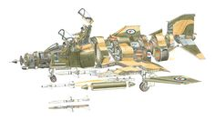 On board an Phantom II Jet Engine Parts, Phantom Pilots, Airplane Illustration, Iron Eagle, Airplane Drawing, F4 Phantom, Aircraft Design, Aviation Art, Model Airplanes