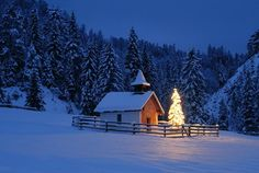 Little Chapel with Christmas Tree at Elmau, Bavaria, Germany by Coy christmas tree images