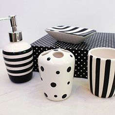Bathroom Accessories Set, 4 Piece Black And White Ceramic Bath Ensemble