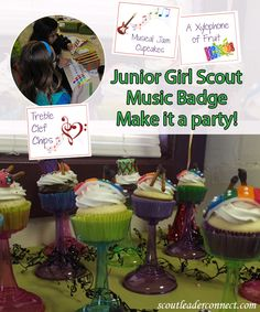 Today I want to share a great idea for your Junior music badge. Instead of a typical meeting where you work on badge requirements turn it into a party. Girl Scout Songs, Girl Scout Leader, Girl Scout Troop, Junior Girl Scout Badges, Girl Scout Juniors, Girl Scout Activities, Activities For Girls, Brownies Uk, Junior Mints