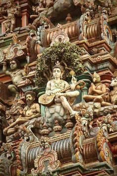 *INDIA~Lord Shiva among hundreds of figures on a temple, Chennai, Indian Temple Architecture, Ancient Architecture, Art And Architecture, Chennai, Varanasi, Website Design, Web Design, Temple Indien, Temples