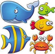 Cartoon Marine Animals Vector | Free Vectors, Free Design