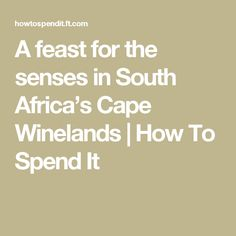 A feast for the senses in South Africa's Cape Winelands   How To Spend It
