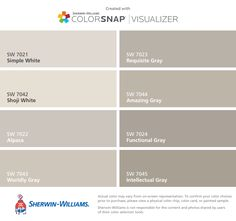 I can't decide which color will look best w the lighting in my house .... I found these colors with ColorSnap® Visualizer for iPhone by Sherwin-Williams: Simple White (SW 7021), Shoji White (SW 7042), Alpaca (SW 7022), Worldly Gray (SW 7043), Requisite Gray (SW 7023), Amazing Gray (SW 7044), Functional Gray (SW 7024), Intellectual Gray (SW 7045).
