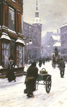Paul Gustave Fischer A Street Scene in Winter, Copenhagen 1900 (Note: Fischer, was a Danish painter who had a short formal education, but whose paintings sold well despite lack of critical acclaim during his lifetime. Winter Painting, Winter Art, Illustration Art, Illustrations, Oil Painting Reproductions, Wassily Kandinsky, Henri Matisse, Winter Scenes, Toulouse