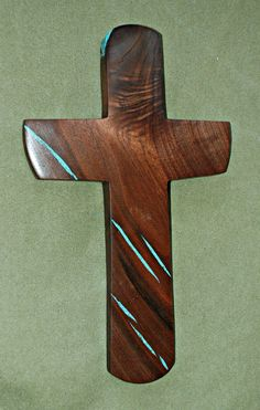 """14 """" high x 9"""" wide Walnut Wall Cross with Turquoise Inlay by BlackFacedSheep on Etsy"""