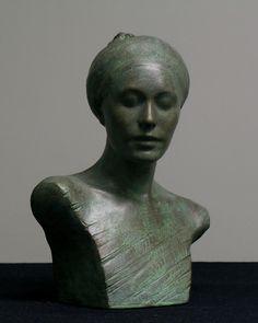 """Green ""  ceramic sculpture by Joanna Mozdzen"